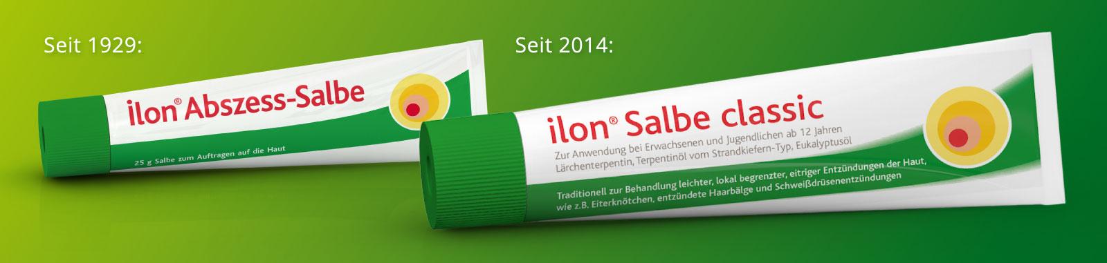 Seit 1929 die ilon Abszess-Salbe, seit 2014 die ilon Salbe classic