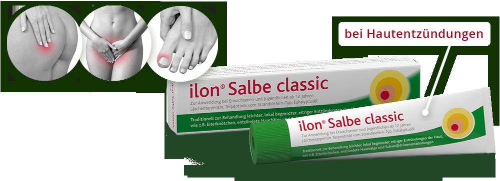 ilon Salbe classic liegend mit Verpackung und symbolisch dargestellten Anwendungsgebieten